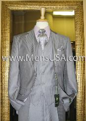 EG0261 2 Button Style 3 Piece Grey Pinstripe Fitted