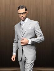 GRE6916 2 Button Style Vested Grey patterned Suit Comes