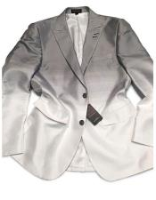 AP667 Mens Grey/White 2 Buttons Single Breasted Peak Lapel