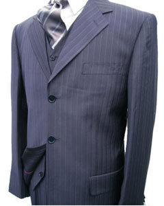 MU28 Navy Blue Shade Stripe ~ Pinstripe 3 Piece