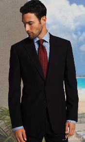 KA1175 2 Button Style Solid Color Navy Suit Side