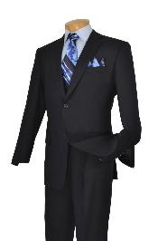 Poly-rayon Executive Pure Solid Navy Athletic Cut Suits Classic