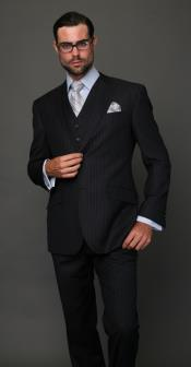 RCH5 Classic 3PC 2 Button Style Navy Pinstripe three