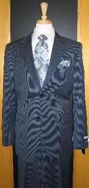 2 Button Style Navy Pinstripe