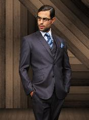 SlimnarrowStyle2ButtonStyleNavyVestedSuit