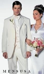 NY_Y72 Off White~Ivory~Cream 2 Button Style tuxedo Dress Suits