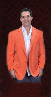 ONG9911 Cotton/Rayon 2 Button Style Orange Sport Coat Notch