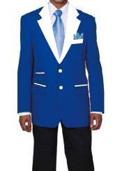 mens 2 Buttons Royal Blue