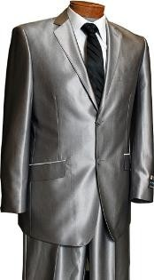 LX8201 Sateen Metallic Bight 2 Button Style Silver Slim