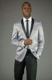 MK648 2 Button Style Silver Shawl Lapel Slim narrow