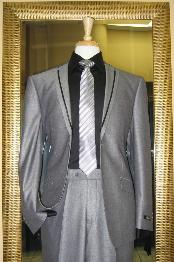 JH8461 2 Button Style Black and Silver Suit Tuxedo