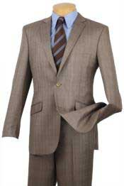 Tan khaki Color800 Single Breasted 2 Button Style Slim