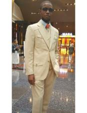 CH2446 Mens two buttons tan Double Breasted Vested suit