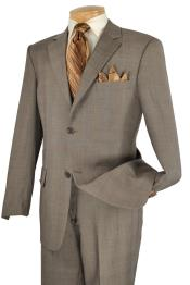 TUP92 Executive 2 Piece 2 Button Style Suit Taupe