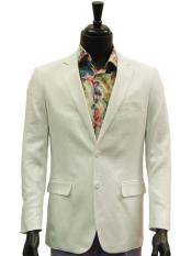 JSM-4887 Mens Notch Lapel 2 Buttons White Single Breasted