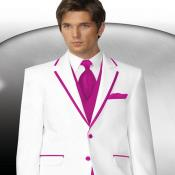 PN80 2 Button Style White Tuxedo With Hot Pink
