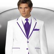 PN_M0 2 Button Style White Tuxedo With Purple color