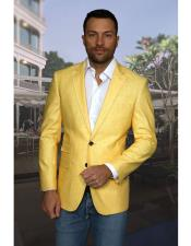 AP651 Mens Yellow 2 Buttons Notch Lapel 100% Linen