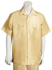 AC-322 Two Piece Short Sleeve Walking Suit Gold