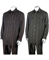 JSM-1500 Mens 100% Polyester Striped Design 2 Piece Walking