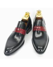 JSM-6113 Mens Two Toned Slip On Style Fashionable Black/Cognac