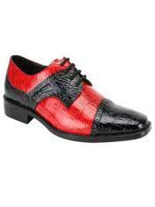 JS357 Mens Fashion Two Toned Black/Red Dress Shoe