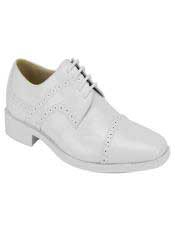 JS358 Mens Fashion Two Toned White Dress Shoe