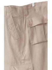 SM859 100% Linen Cargo White Pants