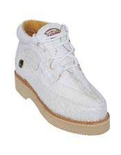 JSM-5005 Mens Lace Up White Genuine Crocodile And Ostrich