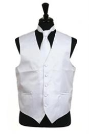 VS2012 Horizontal Rib Pattern Vest Tie Set White