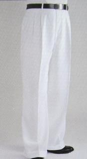 KM4044 White Wide Leg Dress Pants Pleated Slacks baggy