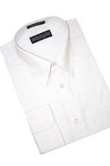 HK650 White Cotton Blend Dress Shirt With Convertible Cuffs