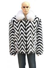 GD728 Mens White Fox Collar Fur Black/White Zipper Jacket