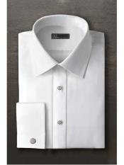 SM1196 Evan White Laydown Tuxedo Shirt With Frenched Cuffed