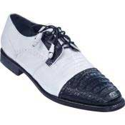 KA4732 Lizard & Gator Tip Dress Shoe - White