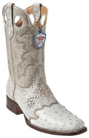 NU7809 Wild West White Ostrich Wild Rodeo Toe Boots