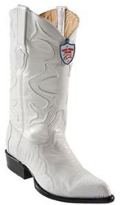 DS4527 Wild West White Ostrich Leg Cowboy boots