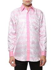 JSM-3515 Mens Shiny Satin Floral Spread Collar Paisley White-Pink