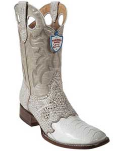 GC6650 Wild West White Ostrich Leg Wild Rodeo Toe