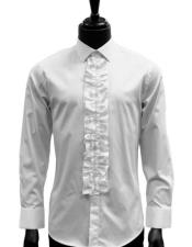 JSM-5122 Mens classic White Ruffled Dress 100% Cotton casual