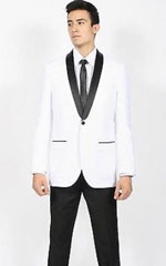 KA5287 White Liquid Jet Black Shawl Collar Slim narrow
