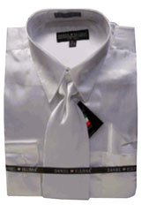 PH545 New White Satin Dress Shirt Tie Combo Shirts