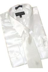 ST612 Satin White Dress Shirt Tie Hanky Set