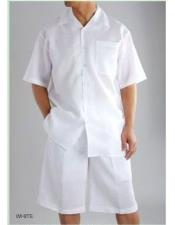 JSM-4121 Mens Shirt And Shorts White color Two Piece