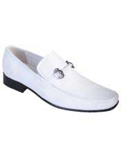 JSM-4991 Mens White Genuine Teju Lizard Slip On Loafer