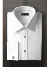 SM1198 Logan Laydown White Textured Tuxedo Shirt With Frenched