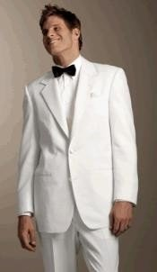 MUTUX102 White 2 Button Style Tuxedo Dress Suits for