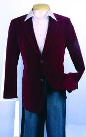 HR639 Fashion Sport Coat Wine Color Velvet Fabric