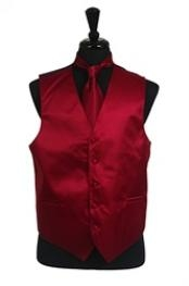 VS2014 Horizontal Rib Pattern Vest Tie Set Burgundy ~