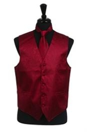 VS2782 Paisley tone on tone Vest Tie Set Burgundy